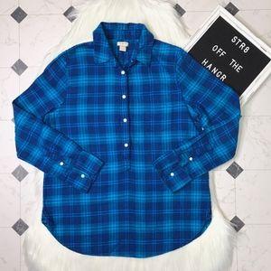 J. Crew blue plaid half button down blouse size MP